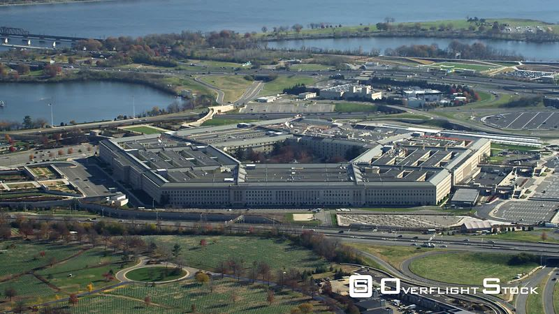 Zoom-out on the Pentagon, revealing Columbia Island Marina and Potomac River. Shot in November