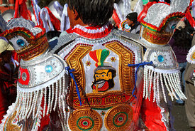 Detail of costume of morenada dancer, Gran Poder festival, La Paz, Bolivia