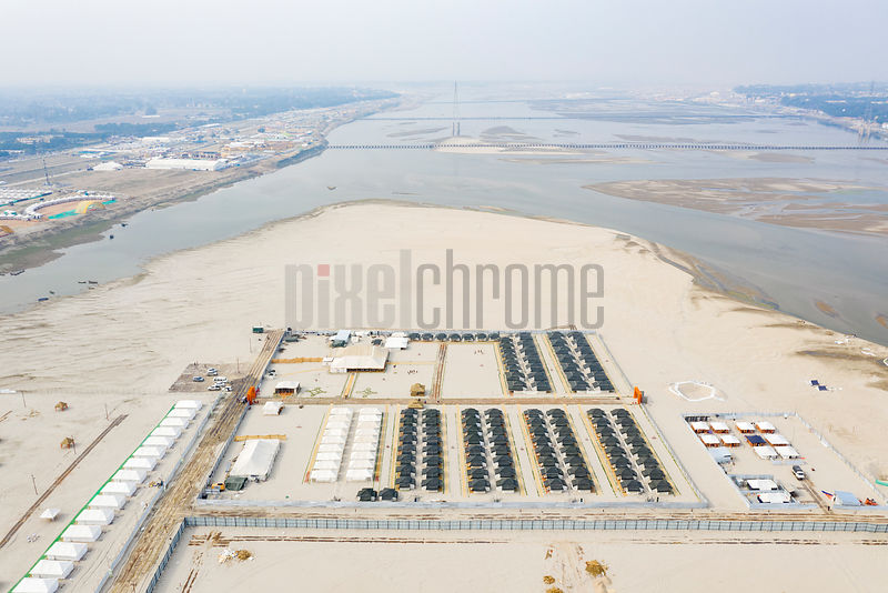 Aerial View of the Aagman Camp Looking North towards the Sangam