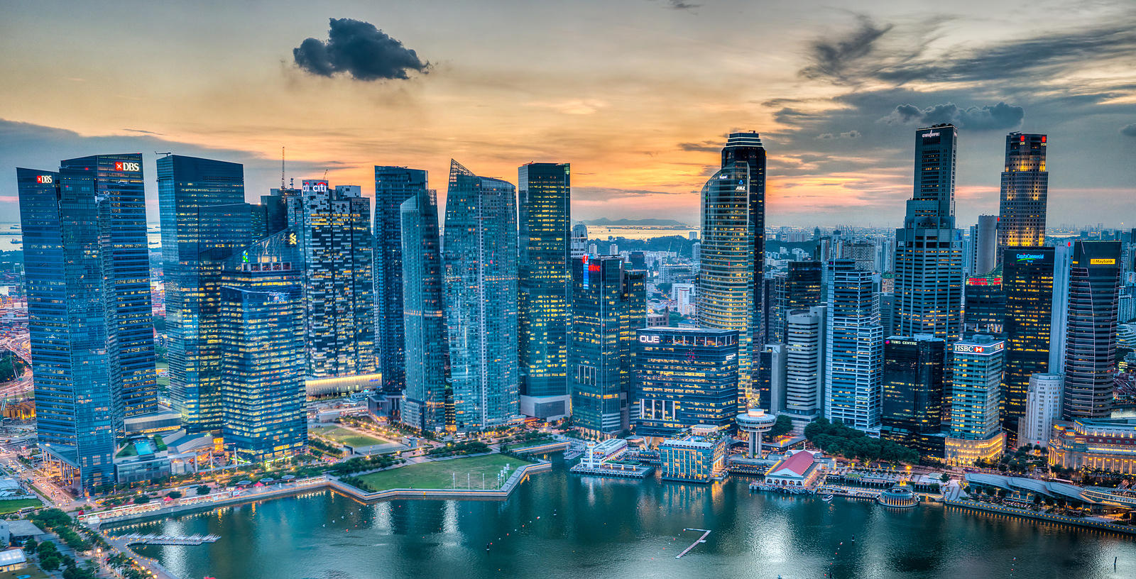 Singapore Skyline at Sunset from Marina Bay Sands