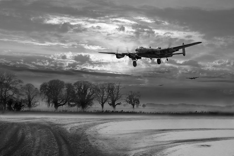 Morning return: Lancasters at sunrise, B&W version
