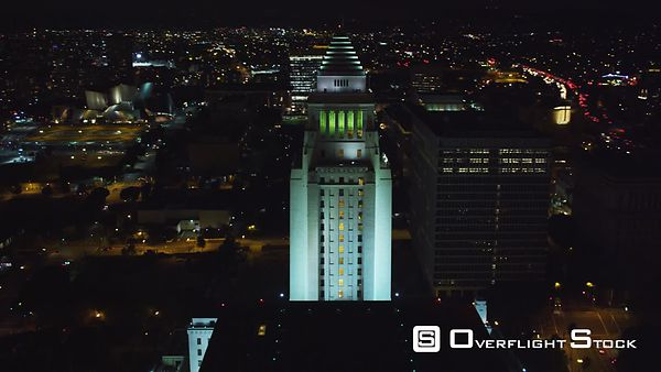 Orbiting the Los Angeles City Hall at Night.