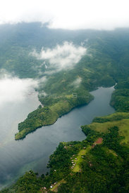 Aerial view of Tufi and Cape Nelson area of Oro Province, Papua New Guinea