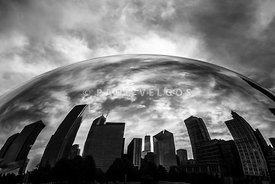 Chicago Cloud Gate Bean Reflection in Black and White