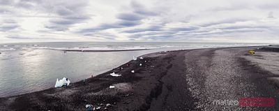 Panoramic aerial of black sand beach, Jokulsarlon, Iceland