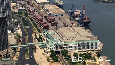 Flight past waterfront and Mobile Convention Center, Mobile, Alabama.