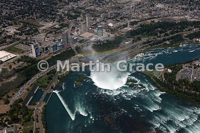 Canadian Horseshoe Falls from the air, with Niagara Falls city (Canada) beyond, Ontario, Canada