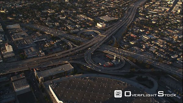 Wide Aerial View of Los Angeles Freeway Interchange at Dusk.
