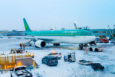 Commercial Airliner on a snow covered Airport Tarmac