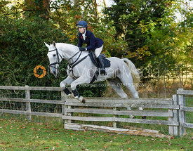 Rachel Woolley jumping a hunt jump near Temple Hill - Fitzwilliam Opening Meet 2016