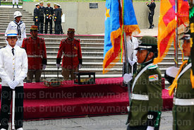 Members of the military police parade past the remains of Eduardo Abaroa, Plaza Avaroa, La Paz, Bolivia