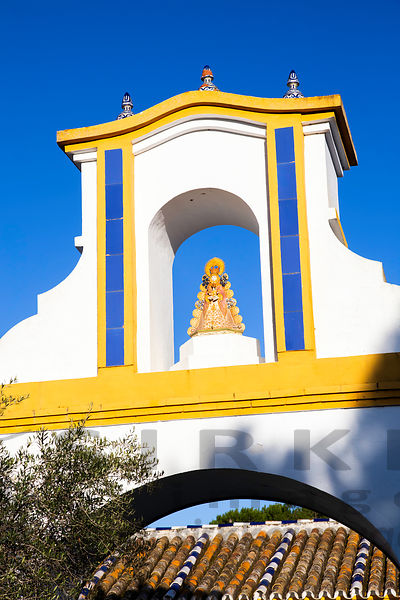 Virgin of El Rocío guarding the peace of Las Rocinas visitor centre