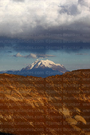Storm clouds over Mt Illimani, seen from Chacaltaya, Cordillera Real, Bolivia