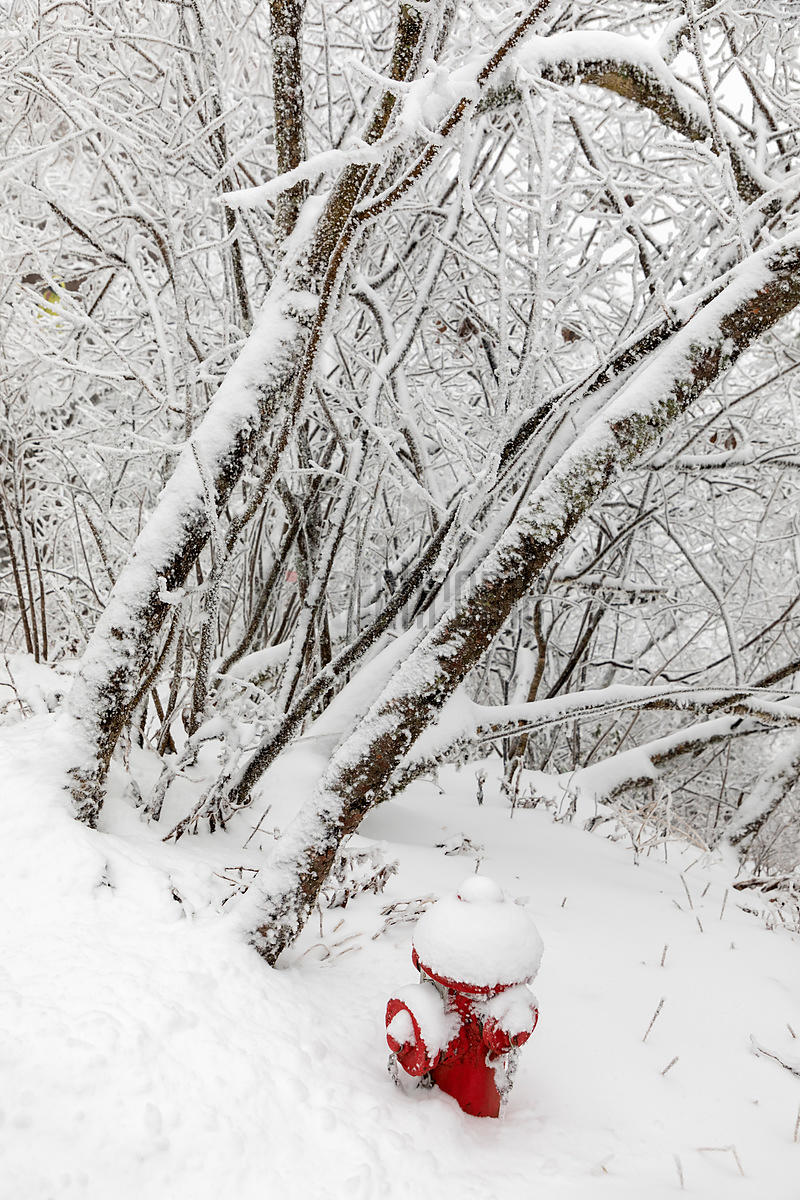 Hydrant in Huangshan Mountain Scene after Heavy Snowfall