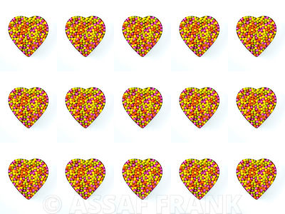 Collage of colorful sweets in heart shape