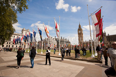 Flags around Parliament Square on the 70th Anniversary of VE Day