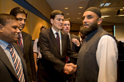 UK - Birmingham - David Miliband shakes hands with a Muslim man