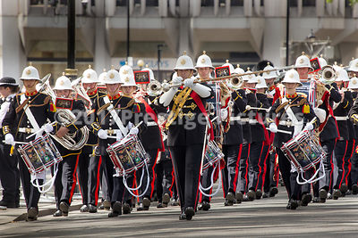 The Band of the Royal Marines Lead a Veterans Parade from Westminster Abbey