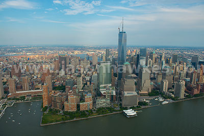 Aerial view of One World Trade Center, a skyscraper in Lower Manhattan, formerly know as the Freedom Tower