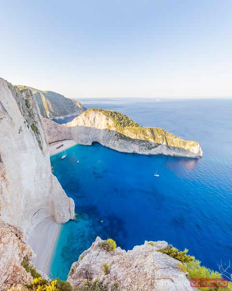 Elevated view of famous shipwreck beach and sea. Zante, Greek Islands, Greece