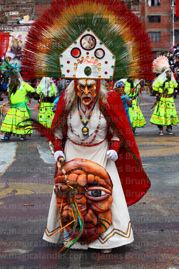 Wizard / shaman dancer dancing the tobas, Oruro Carnival, Bolivia