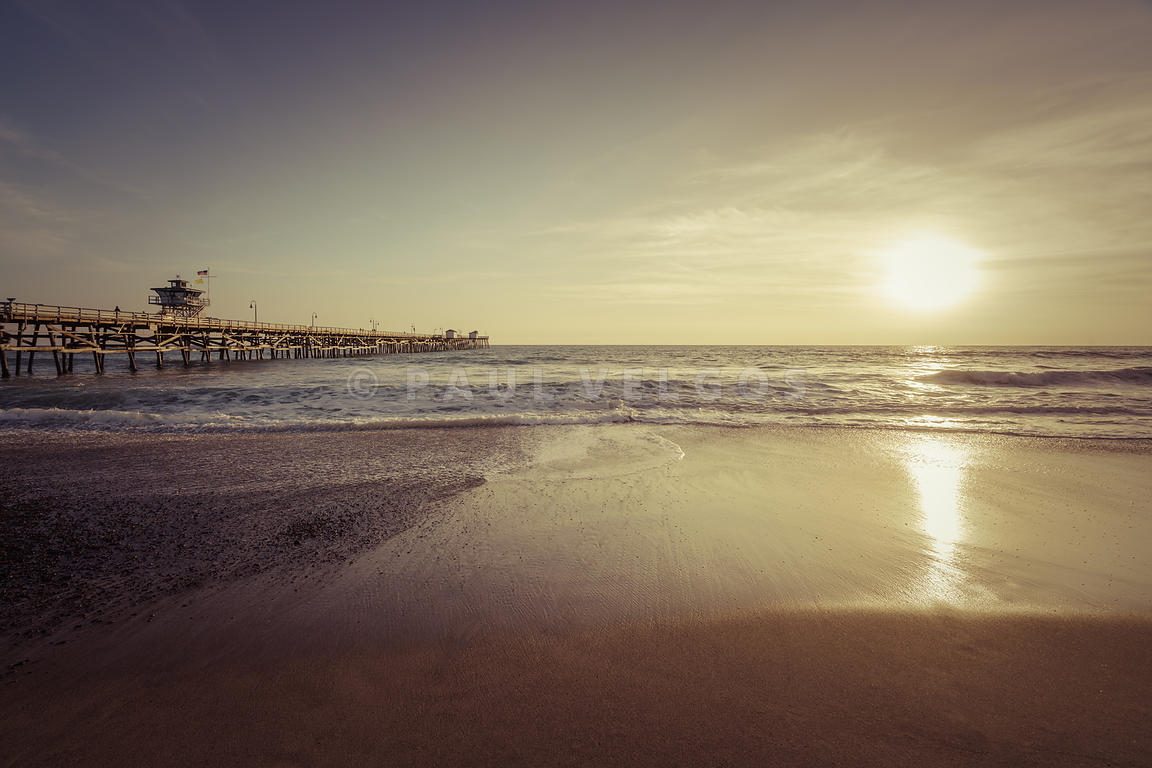 San Clemente Pier Sunset Retro Photo
