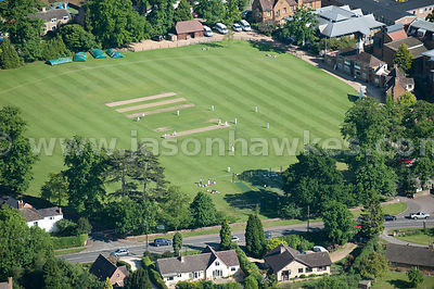 Aerial view of cricket ground
