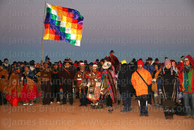 People waiting for sunrise during Aymara New Year celebrations, Tiwanaku, Bolivia