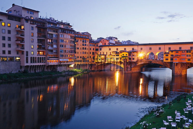 Ponte Vecchio and River Arno at Dusk, Florence, Tuscany, Italy