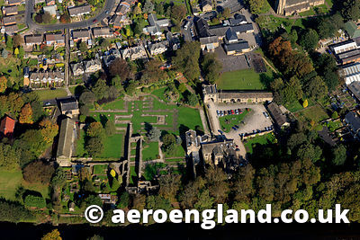 aerial photograph of Whalley Abbey Lancashire , a ruined Cistercian abbey closed in 1537 as part of the dissolution of the mo...