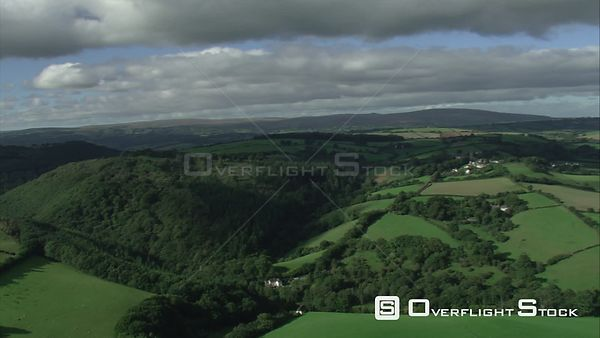 Aerial view tracking over the Teign Valley, Dartmoor National Park, Devon, England, UK, October 2015.
