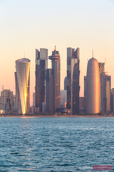 Doha skyline at sunrise, Qatar