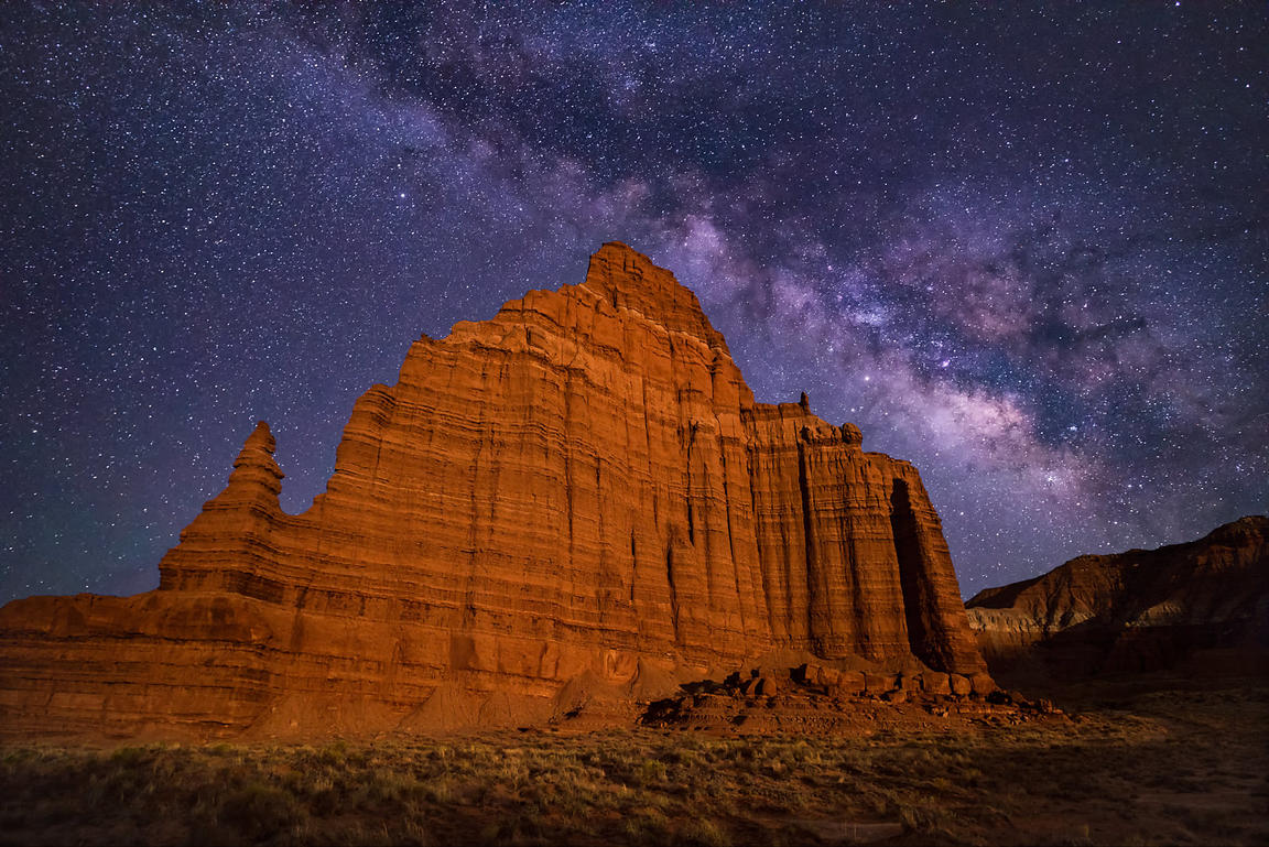 Milky Way Over Temple of the Moon