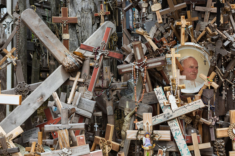 A Portrait of Pope John Paul II among some of the Many Thousands of Crosses at the Hill of Crosses