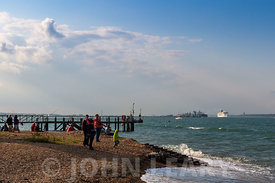View from Calshot Spit across Southampton Water to the Fawley Refinery.