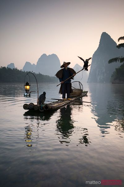 Fisherman with cormorants on the Li river, near Guilin, China