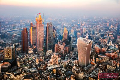 Aerial view of the City at sunset, London, England