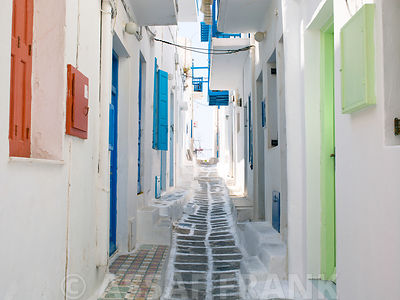 A narrow street in the Old Town,Cyclades Islands, Greece, Mykonos