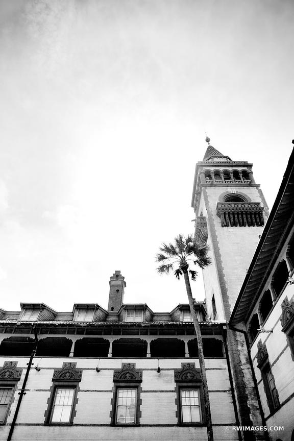 FLAGLER COLLEGE ST AUGUSTINE FLORIDA ARCHITECTURE BLACK AND WHITE VERTICAL
