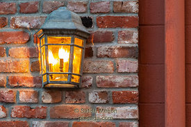 Lamp on Street Wall, Los Gatos, CA, USA