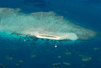 Aerial view of a Sand Cay on the Great Barrier Reef, Queensland, Australia