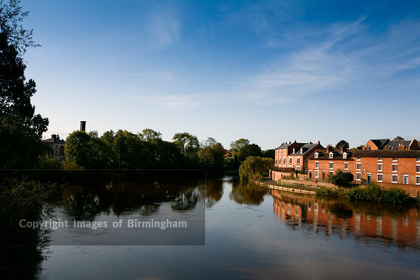 River Severn at Shrewsbury, Shropshire with houses on the riverbank.