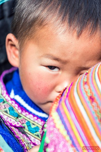 Portrait of baby from Flower Hmong tribe, Bac Ha, Vietnam
