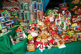 Miniature objects for sale on market stall, Alasitas festival, La Paz, Bolivia