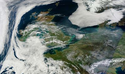 EARTH Western Europe -- 10 Apr 2015 -- This NASA MODIS satellite image from 10 Apr 2015 (latest available from the Terra sens...
