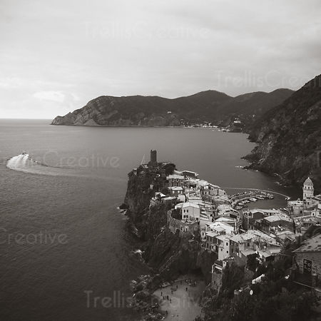 Black and white view of Vernazza townscape in Cinque Terre
