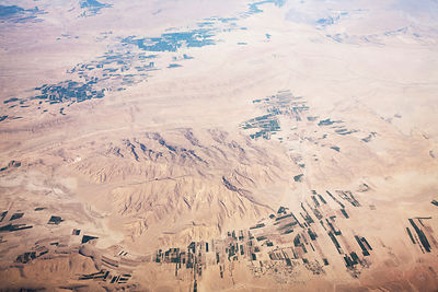 Aerial view showing desert landscape and irrigated fields, Iran, March 2009.