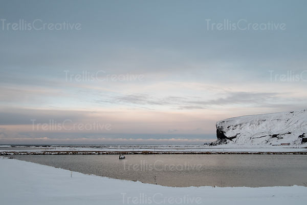 Snow-capped beachside cliff in snowy landscape, Vik, Iceland