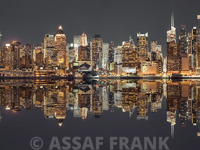 Illuminated Manhattan skyline at twilight - New York City