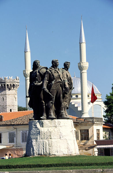 Socialist Realist statues and mosque, Skhoder, Albania